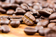 Coffee on wooden background Fresh coffee beans on wood ,ready to Stock Photo