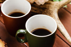 Coffee on wooden background Royalty Free Stock Image