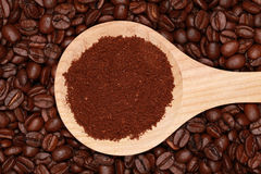 Coffee on a wooden spoon Stock Image