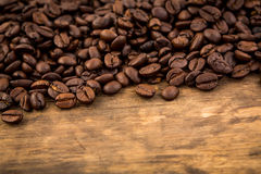 Coffee on wooden table Stock Images