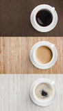 Coffee on wooden table top view Stock Photos