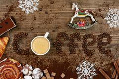 Coffee Word And Beans With Cup Of Coffee. Flat Lay Close Up Of Mug Of Hot Aromatic Beverage, Sweets And Word Making Of Beans On Wooden Table. Top View. High Stock Photo