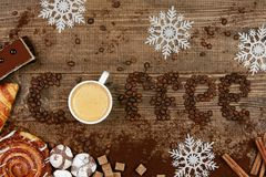 Coffee Word And Beans With Cup Of Coffee. Flat Lay Close Up Of Mug Of Hot Aromatic Beverage, Sweets And Word Making Of Beans On Wooden Table. Top View. High Stock Images