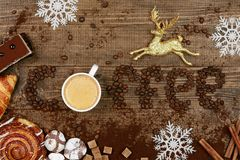 Coffee Word And Beans With Cup Of Coffee. Flat Lay Close Up Of Mug Of Hot Aromatic Beverage, Sweets And Word Making Of Beans On Wooden Table. Top View. High Royalty Free Stock Image