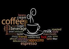 Coffee word cloud. Over black background Royalty Free Stock Photography