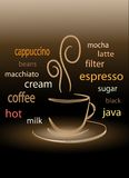 Coffee word cloud. Over black background Royalty Free Stock Photos