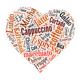 Coffee word cloud collage. Coffee, espresso, cappuccino, macchiato, Word cloud, tag cloud text business concept. Word collage Royalty Free Stock Photography