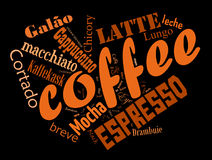 Coffee word cloud collage. Coffee, espresso, cappuccino, macchiato, Word cloud, tag cloud text business concept. Word collage Stock Image