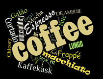 Coffee word cloud collage. Coffee, espresso, cappuccino, macchiato, Word cloud, tag cloud text business concept. Word collage Stock Photography