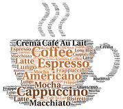 Coffee word cloud concept. Illustration Stock Photos