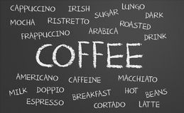 Coffee word cloud Royalty Free Stock Images