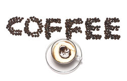 Coffee word with coffee bean and coffee cup Stock Photography
