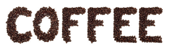 COFFEE word. From coffee beans Stock Photos