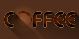 Coffee word with coffee stain Stock Images