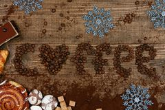 Coffee Word With Heart Of Coffee Beans. Close Up Of Different Sweets And Coffee Beans On Wooden Table. Top View. High Resolution Royalty Free Stock Image