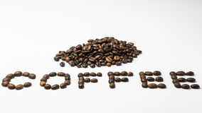 Coffee. The word coffee made from coffee beans Stock Photography