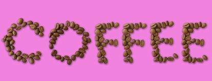 Coffee word made of coffee beans on pink background - close up concept - stock. Illustration stock illustration