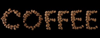 Coffee word made of coffee beans on black background - close up concept - stock. Illustration royalty free illustration