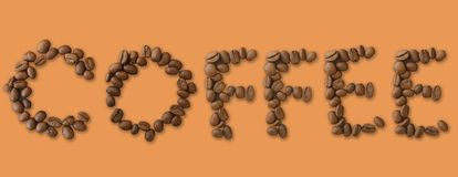 Coffee word made of coffee beans on brown background - close up concept - stock. Illustration vector illustration