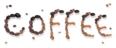 Coffee Word Made of Roasted Coffee Beans Royalty Free Stock Photos