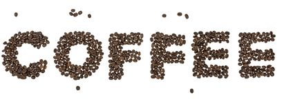 Coffee word. Word Coffee with coffee beans over white background royalty free stock images