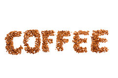 Coffee word. Written by coffee beans  isolated on white background Stock Image