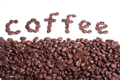 Coffee word written from coffee beans. Stock Image