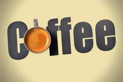 Coffee Wording. With espresso cup Royalty Free Stock Photo