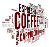 Coffee concept in word tag cloud. Coffee words concept in tag cloud on white background Stock Photography