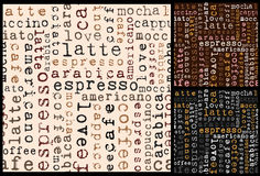 Coffee words pattern Stock Image