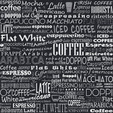 Coffee Words Seamless Background Tags. Coffee Words Seamless Background. Beverage Tags royalty free illustration