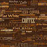 Coffee Words Seamless Background Tags. Coffee Words Seamless Background. Beverage Tags stock illustration