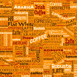 Coffee Words Seamless Background Tags. Coffee Words Seamless Background. Beverage Tags vector illustration