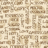 Coffee words seamless pattern Stock Images