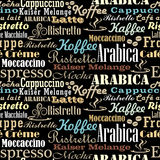 Coffee words seamless pattern. In colors Royalty Free Stock Photos