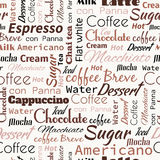 Coffee words, tags. Seamless pattern Stock Photos