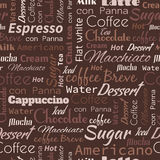 Coffee words, tags. Seamless pattern Stock Photo