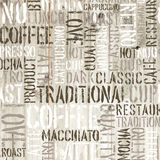 Coffee words on the wooden background. Vector Royalty Free Stock Photo