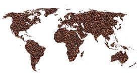 Coffee world. Map of the world with coffee beans image stock image