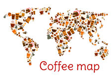 Coffee world map poster with cup and dessert Royalty Free Stock Photo