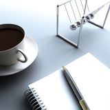 Coffee and writing. A cup of coffee and a notebook for writing Royalty Free Stock Photos