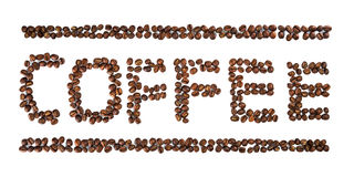 Coffee Written with Coffee Beans isolated on white Stock Photography