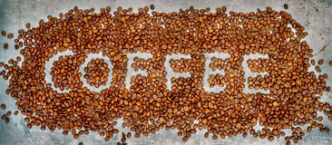 Coffee written in coffee beans Royalty Free Stock Photo