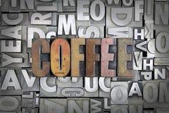 Coffee. Written in vintage letterpress type royalty free stock photo