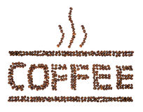 Coffee Written With Coffee Beans Isolated On White Royalty Free Stock Images