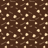 Coffee xups and names Seamless background pattern Stock Images