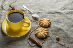Coffee in yellow Royalty Free Stock Photos