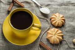 Coffee in yellow Royalty Free Stock Image