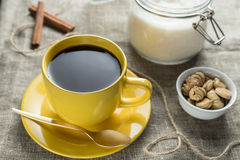 Coffee in yellow Stock Photos