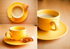Coffee in yellow cup Royalty Free Stock Photo